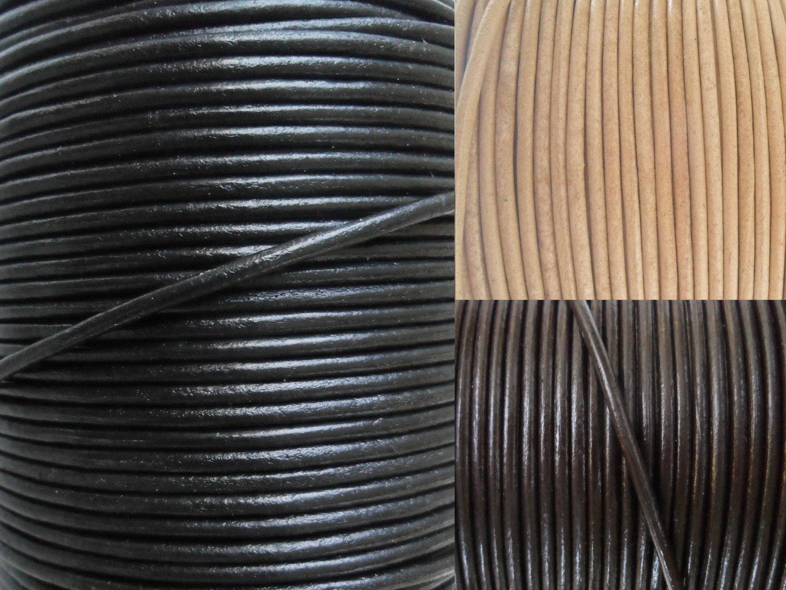 rund Durchmesser 1 mm schwarz Auroris 50 m Rolle Lederband
